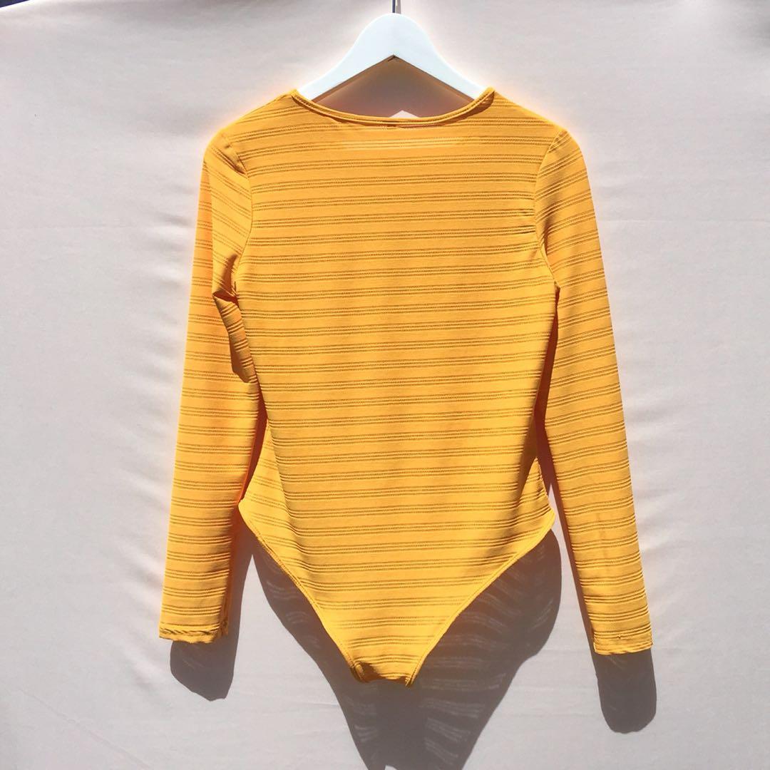 80s 90s yellow semi sheer bodysuit scoop neck size M