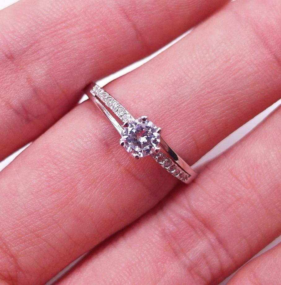 925 Sterling Silver Ring WHITE CZ PLATED WHITE GOLD 925 STERLING PERAK ASLI IMPORT CASUAL ASIA SZ 9,13,16