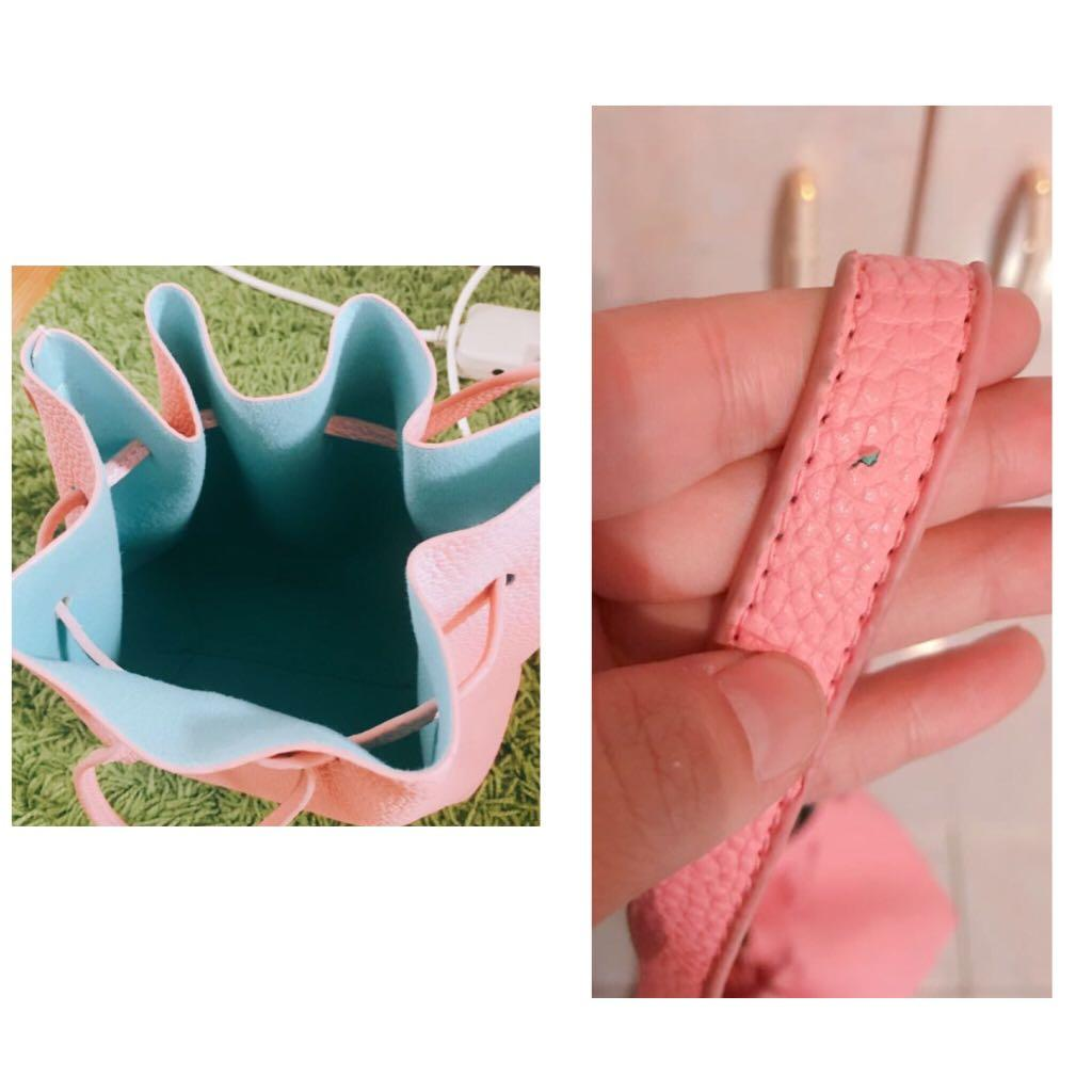 荔枝紋粉色水藍配色肩背斜背小包