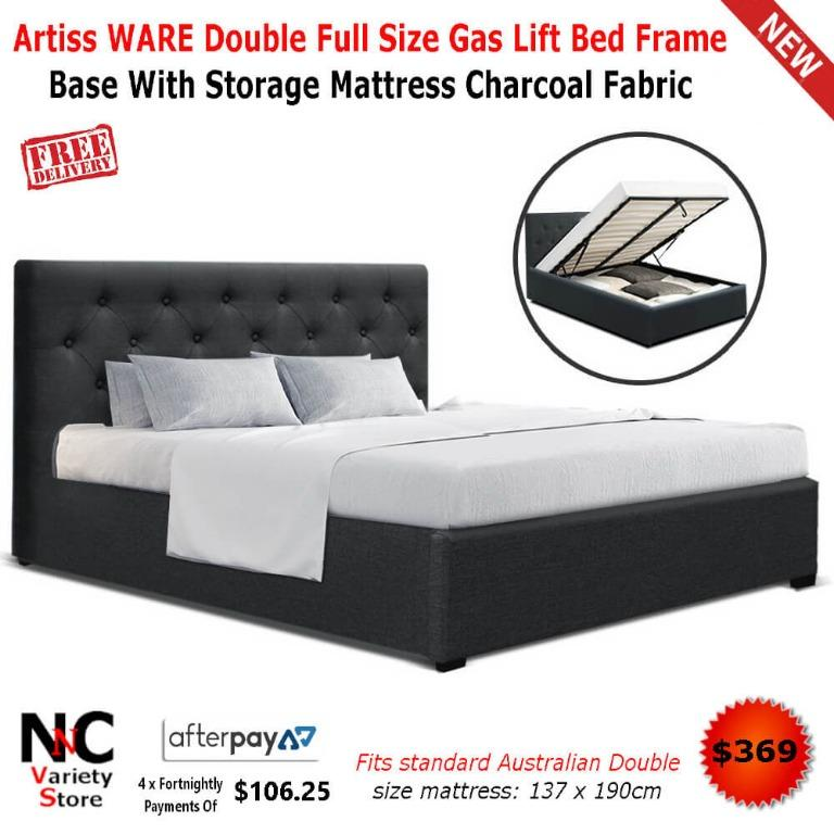 Artiss WARE Double Full Size Gas Lift Bed Frame Base With Storage Mattress Charcoal Fabric
