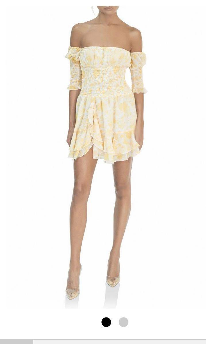 AS NEW AUTHENTIC MISHA COLLECTION YELLOW QUINNIE DRESS XS