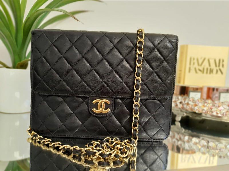 Authentic Chanel vintage single flap shoulder black bag