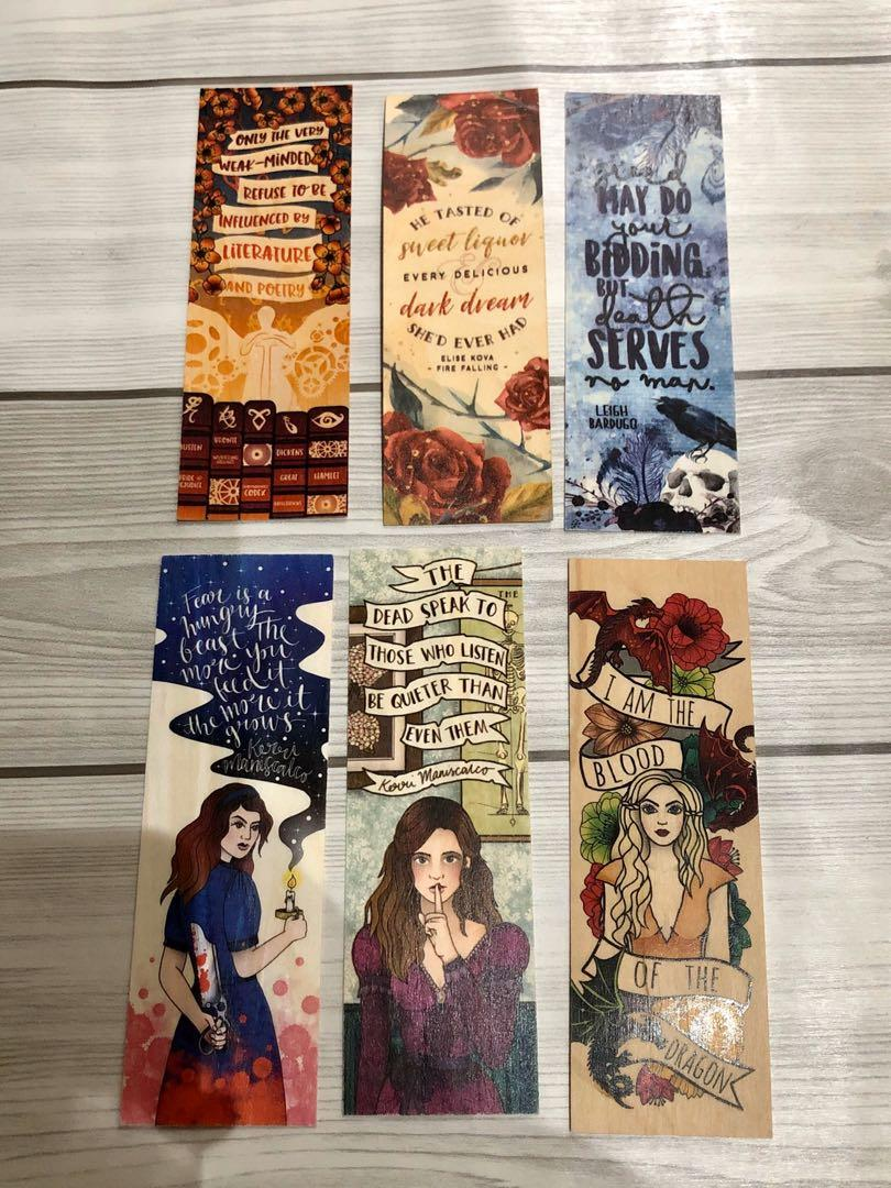 Bookish merch wooden bookmarks dreamyandco ink and wonder designs sjtr leigh bardugo