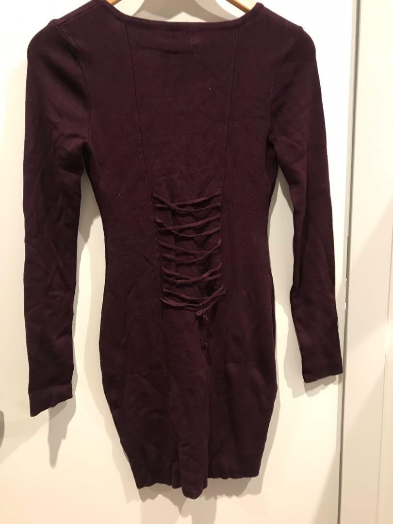 Brand new knitted burgundy lace up long sleeve fitted dress