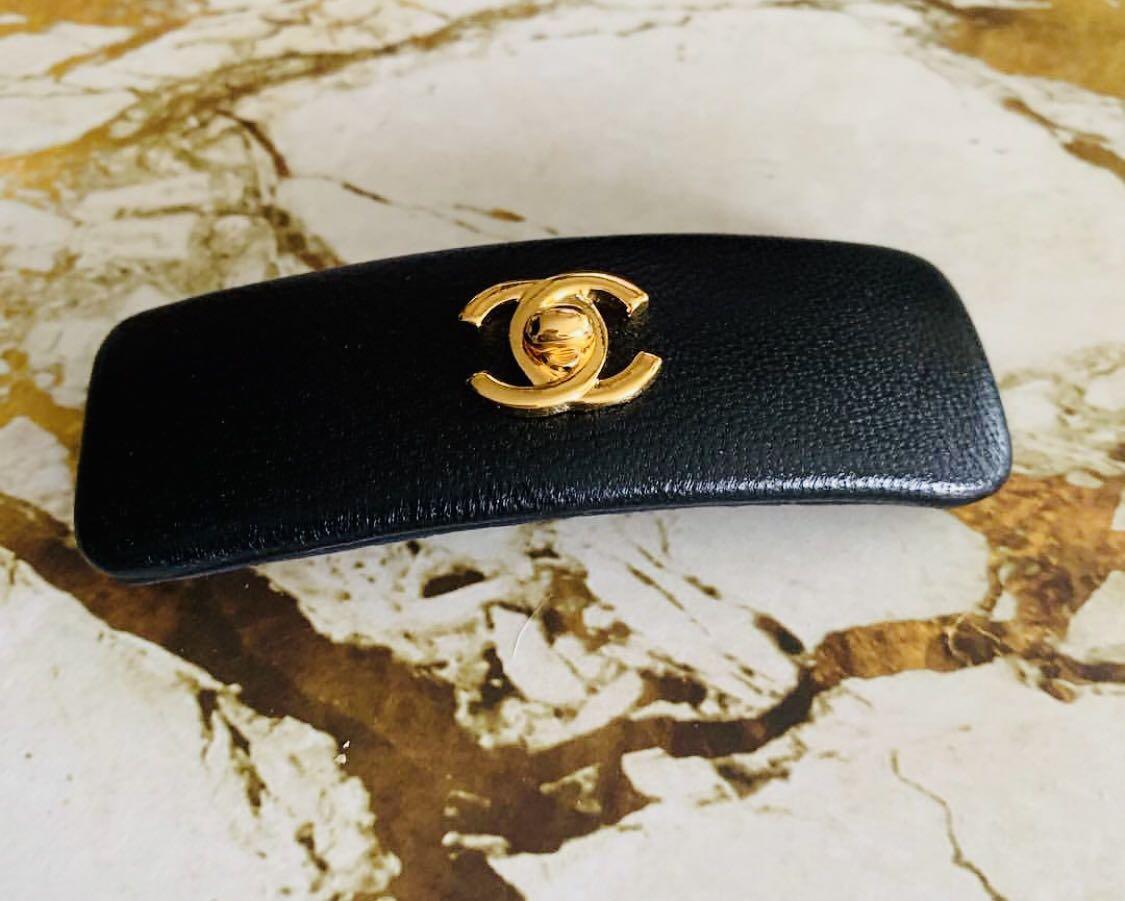 Chanel Vintage Hair Clip in Black - Jepit Rambut Chanel Black Lambskin
