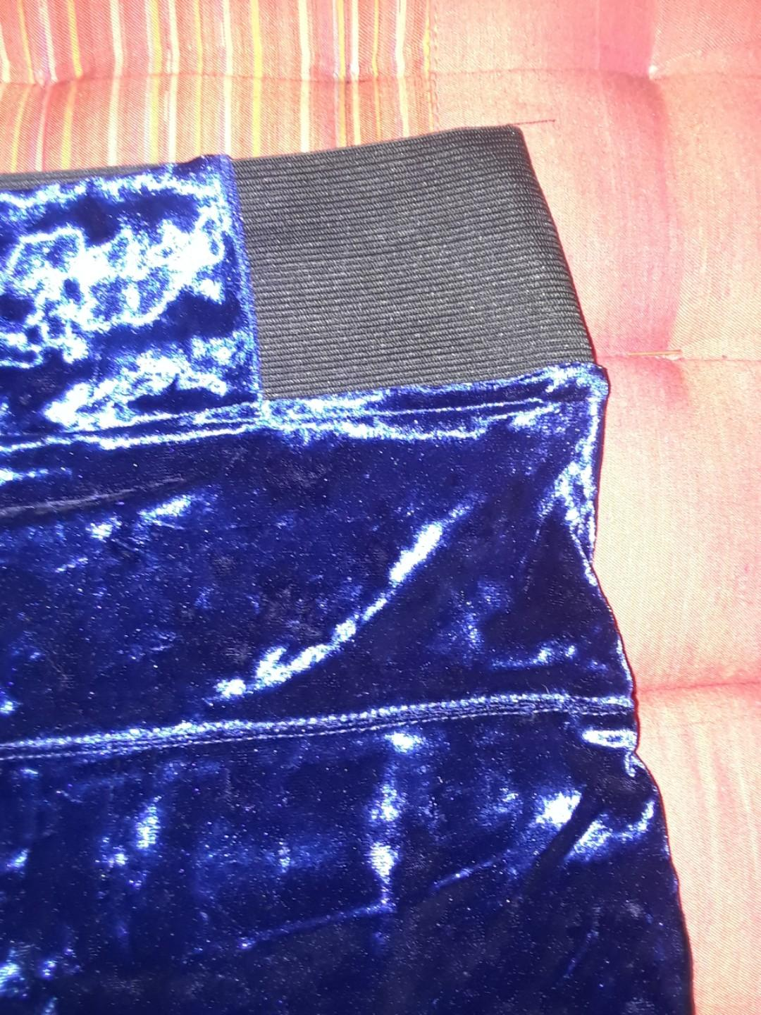 Deep midnight blue velvet mini skirt bodycon clubbing small #SwapCA