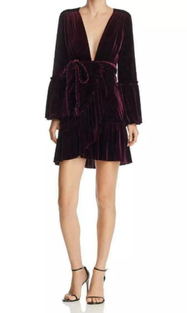 Deep Purple Plum velvet medieval witch trumpet peasant sleeve braid rope tie wrap mini dress XS