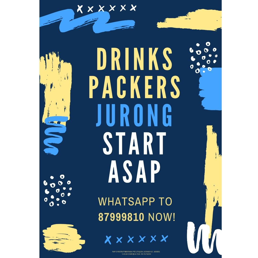 Drinks Packers @ Jurong East ($1800+++ Start ASAP!)