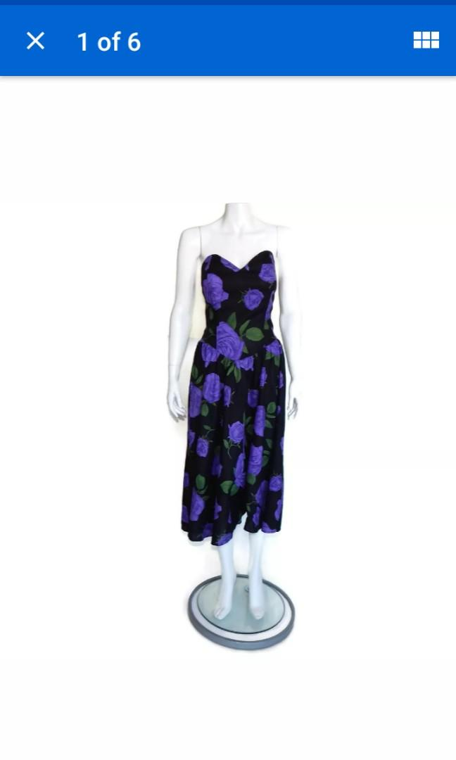Frederick's of Hollywood vintage strapless bodice midi dress black purple roses floral S / M gothic