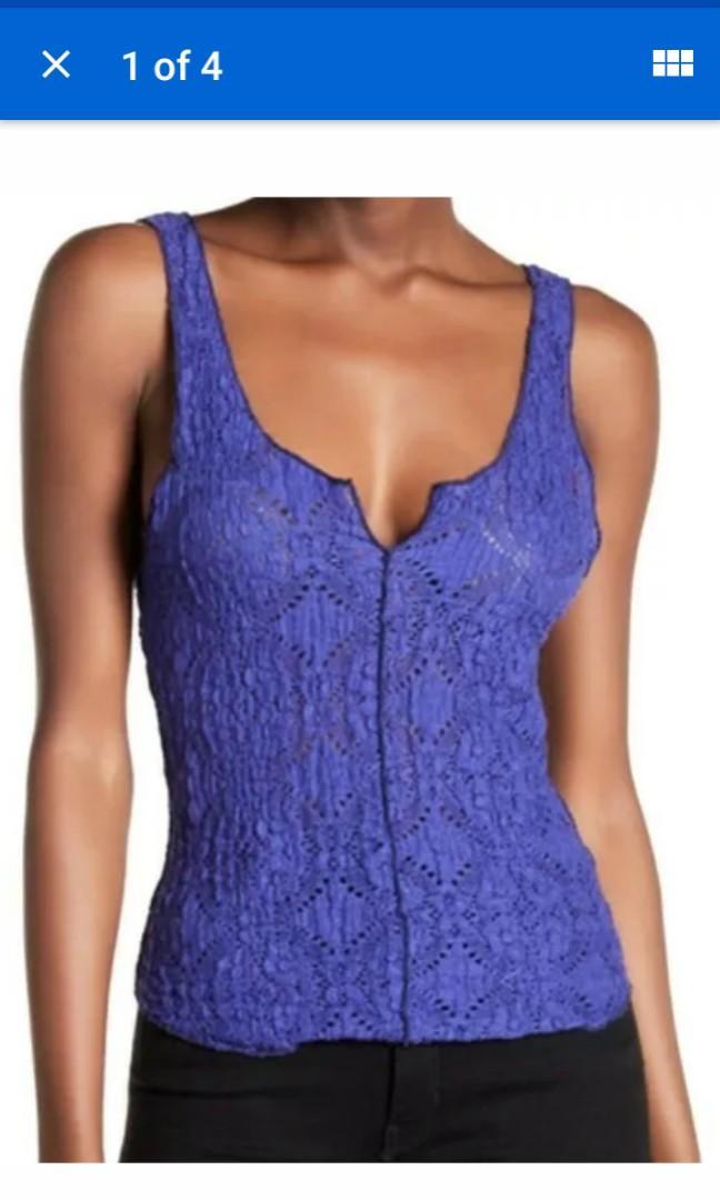 Free people violet purple lace crochet tank top medium 10 #SwapCA