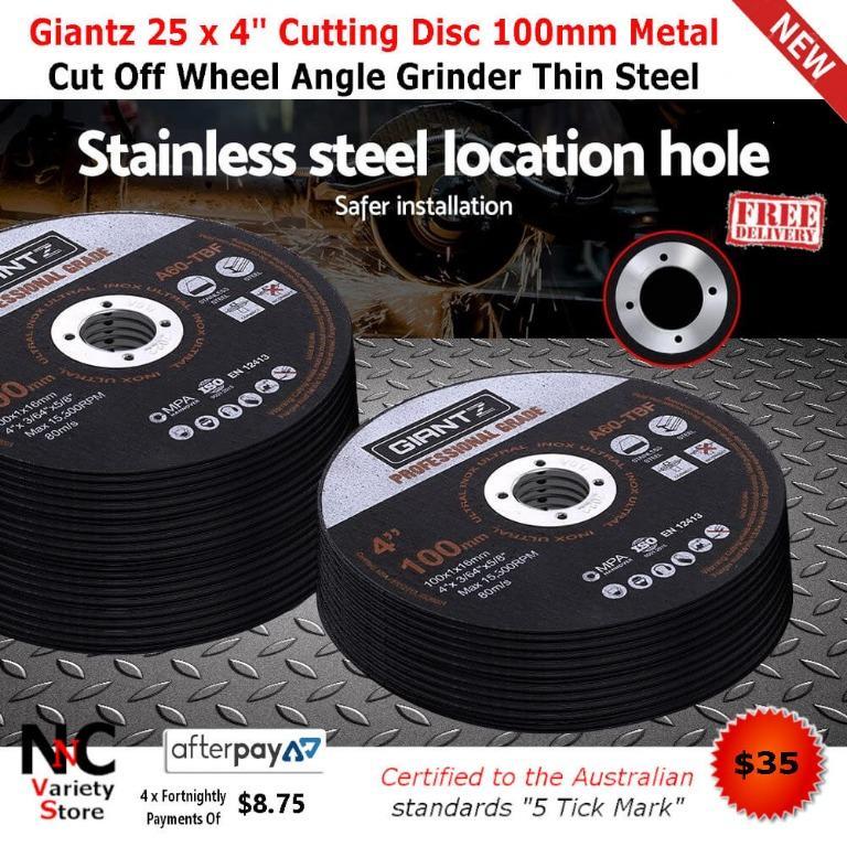 Giantz 25 x 4″ Cutting Disc 100mm Metal Cut Off Wheel Angle Grinder Thin Steel