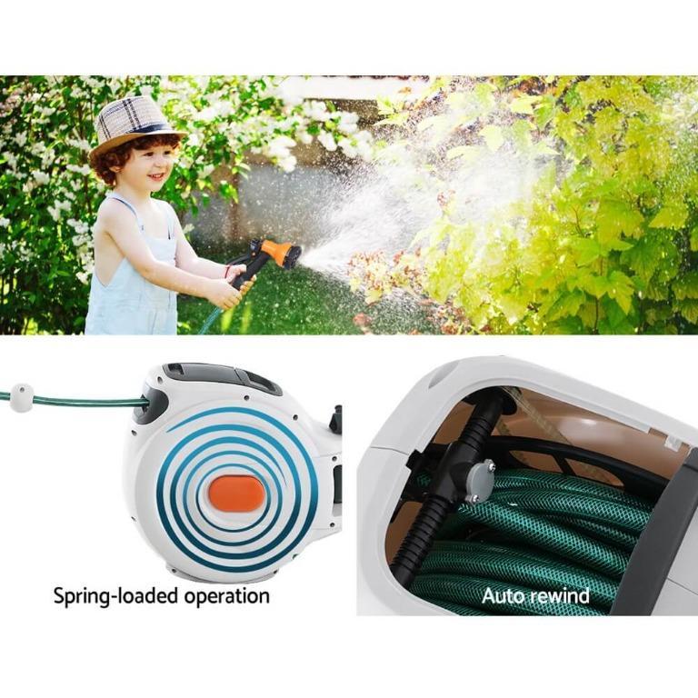 Greenfingers Retractable Hose Reel 20M Garden Water Brass Spray Gun Auto Rewind