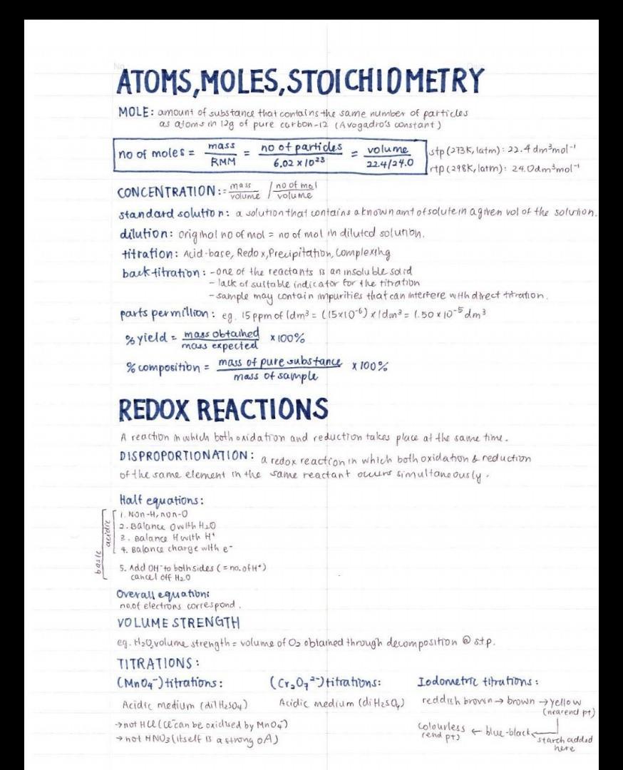 H2 CHEMISTRY FULL SYLLABUS NOTES