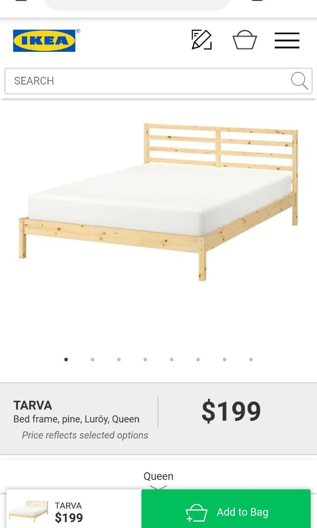 IKEA queen bed frame (Pine beige) from their TARVA collection