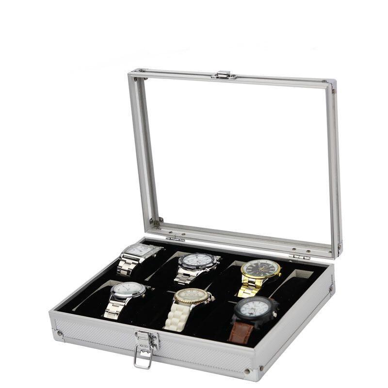 Silver Aluminium Frame Watch Storage Box for Twelve (12) Watches watch box