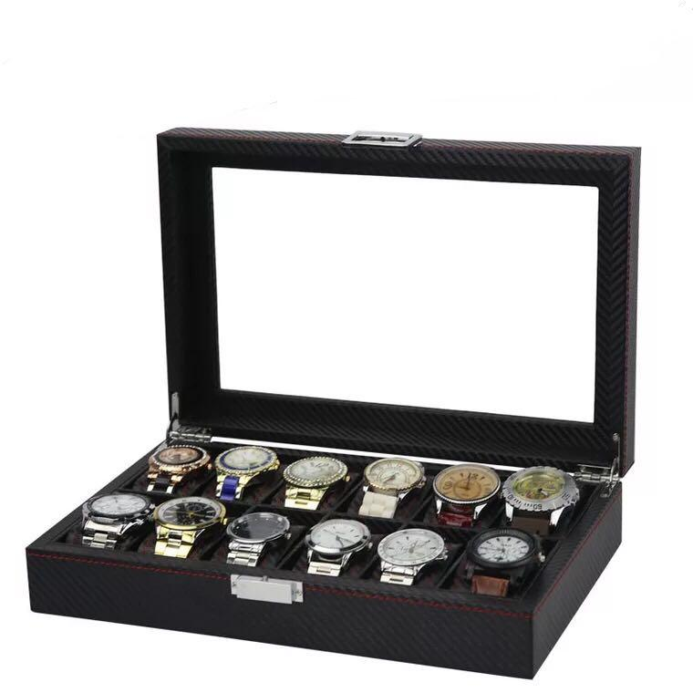 Premium Black Carbon Fibre Luxury Watch Box for twelve (12) watches watch box