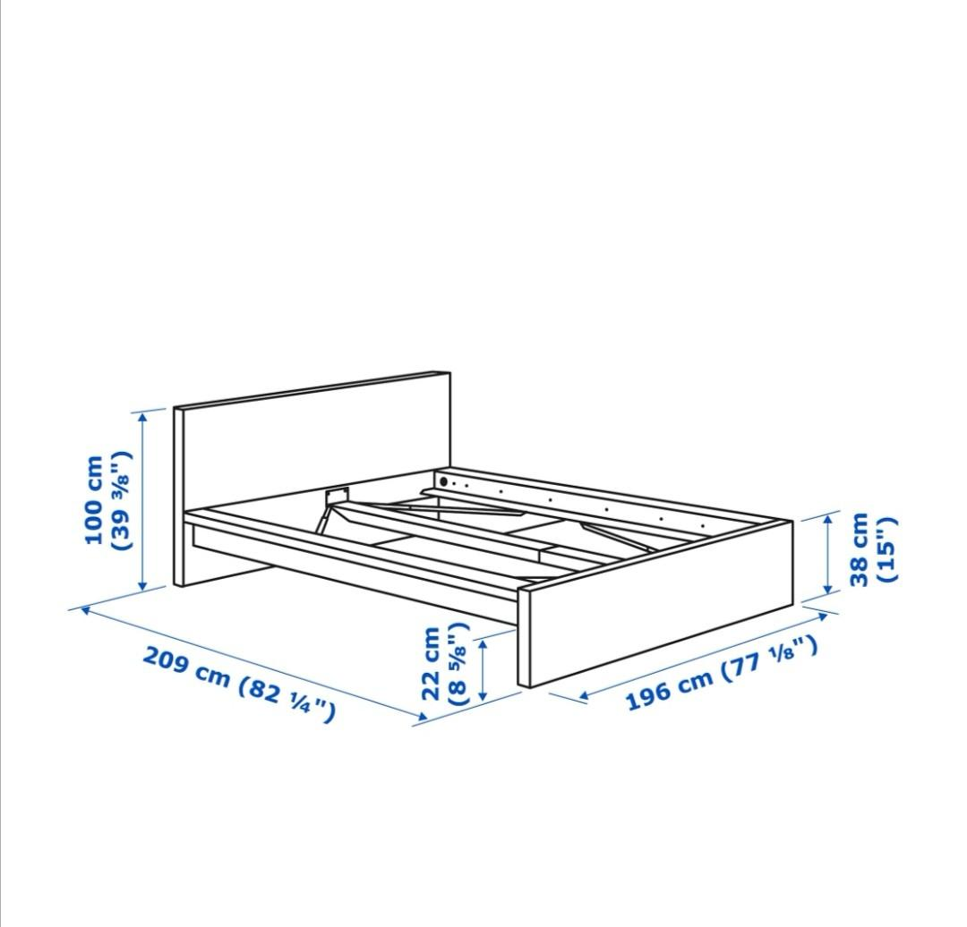 King size bed with storage boxes and mattress