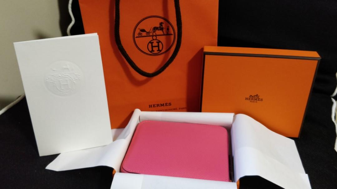 *SOLD* NEW HERMES Compact EPSOM SILK IN WALLET ROSE AZALEE