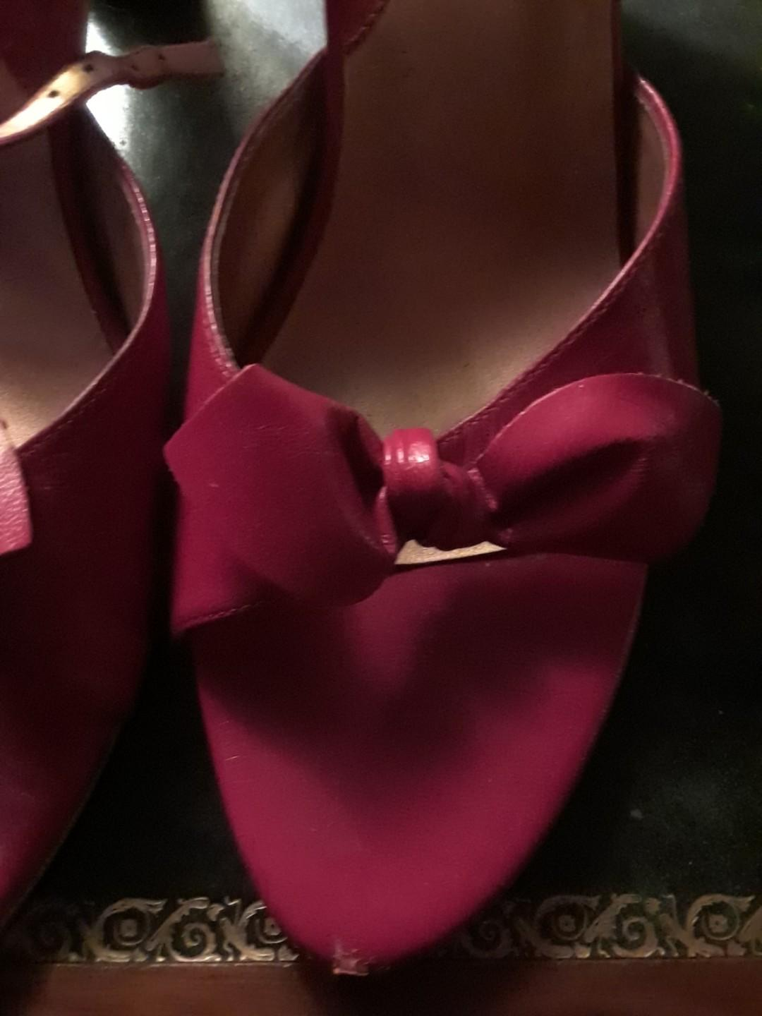 Size 9 retro bow cherry red leather vintage pumps heels