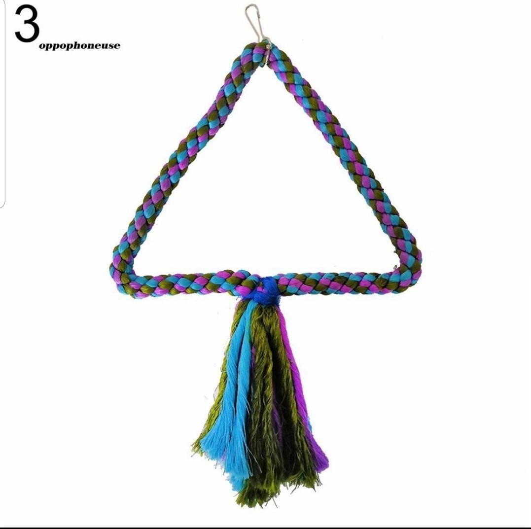 【OPHE】Triangle Circle Shape Hemp Rope Parrot Climbing Swing Pet Bird Cage Hanging Toy