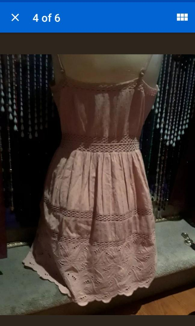Pastel Pink Abercrombie Fitch floral crochet embroidered cute tea dress boho S M #SwapCA