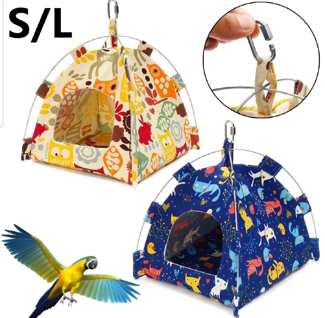 Pet Parrot Canvas Tent Happy Hut Bird Cage Toy Nest Hammock Bed House Steel S/L