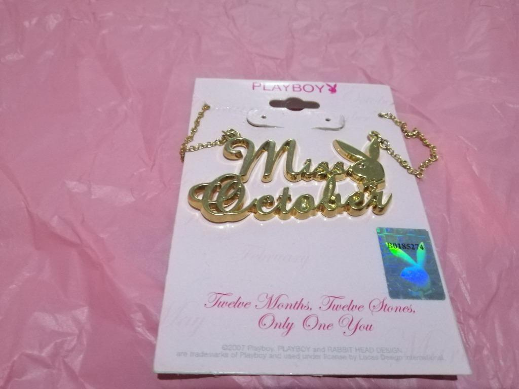 Playboy Necklace MISS OCTOBER Bunny Pendant Gold Plated. BRAND NEW & GENUINE [PRICE IS FIRM, NO SWAPS]