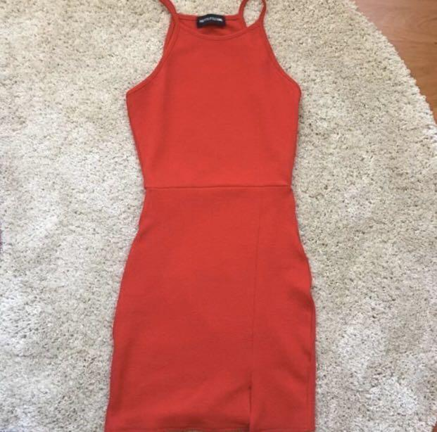 PLT Red Halter Bodycon Dress