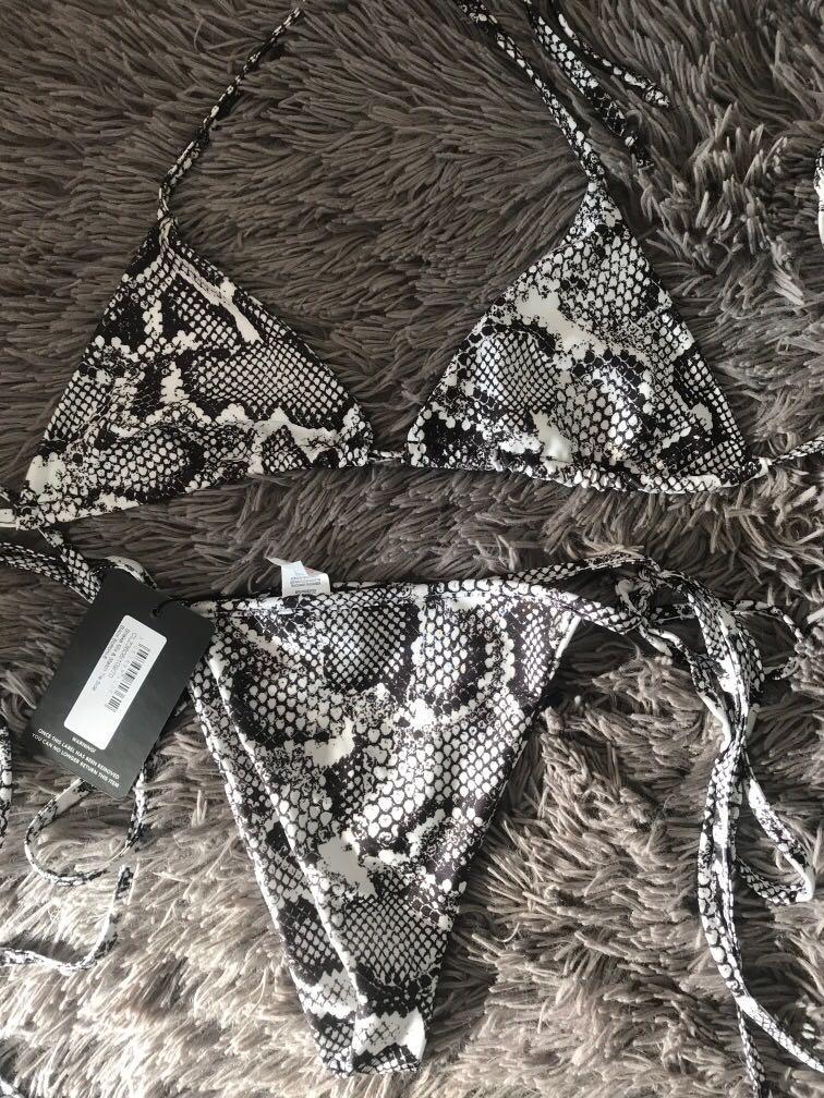 Pretty little thing women's bikini set snakeskin brand new