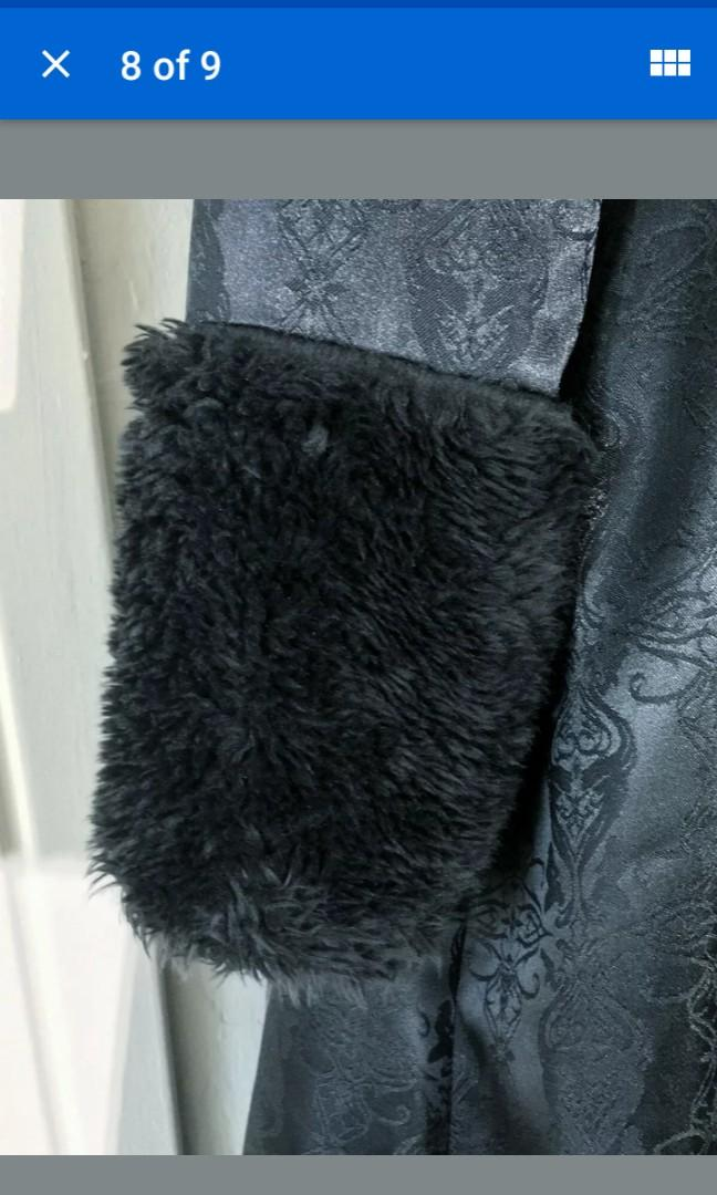 Rare lip service vintage Victorian brocade coat jacket gothic fur trim Medium