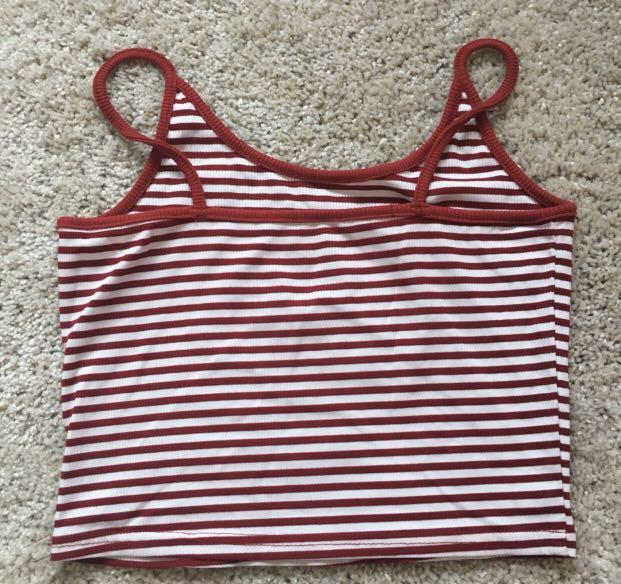 Red and White Stripe Crop Singlet
