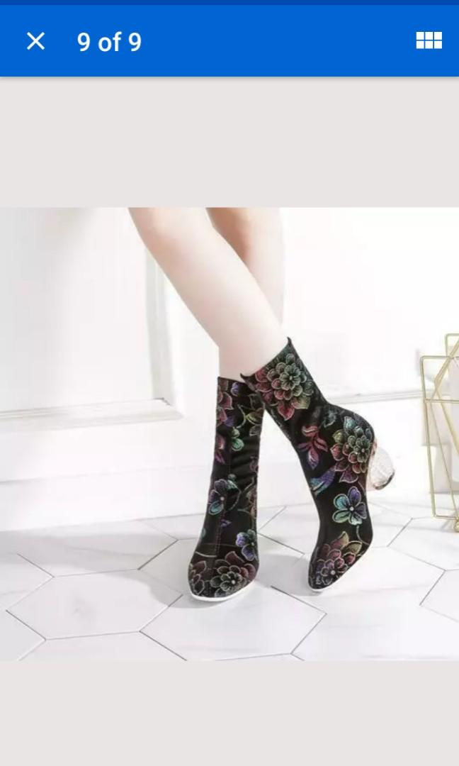Size 11 black velvet sock boots artsy sphere heel costume pointy toe sexy rainbow floral