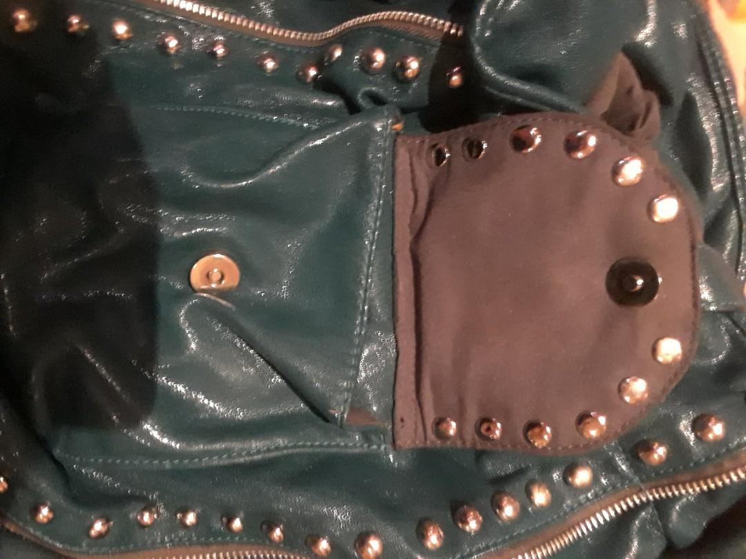 Steve Madden designer teal blue leather studded hobo drawstring bag purse used