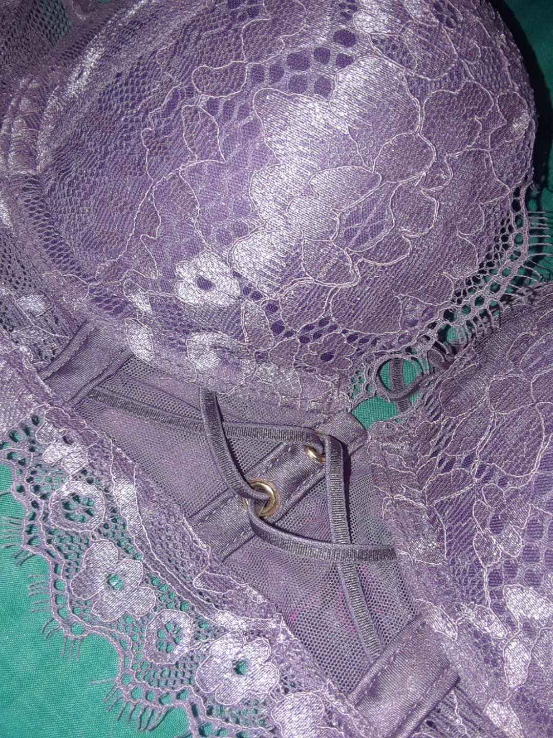 Victoria's secret purple mauve lace longline lingerie 34A bra lot x2 never worn