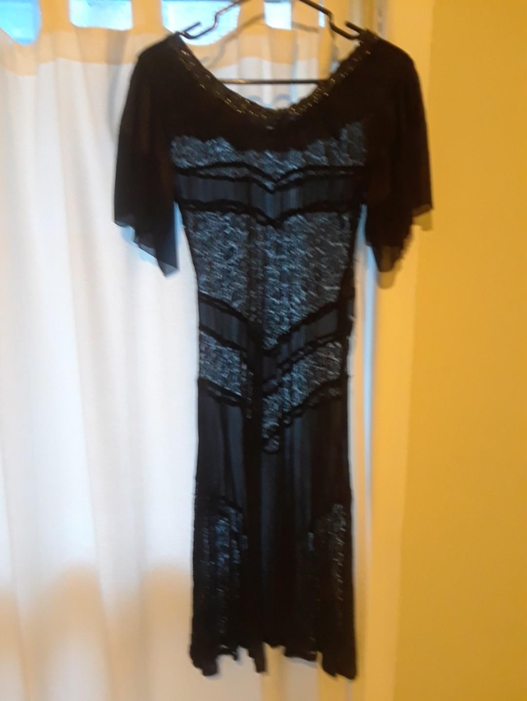 Vintage flapper cocktail evening theatre dress beaded  black lace bohemian 20's 6 S XS