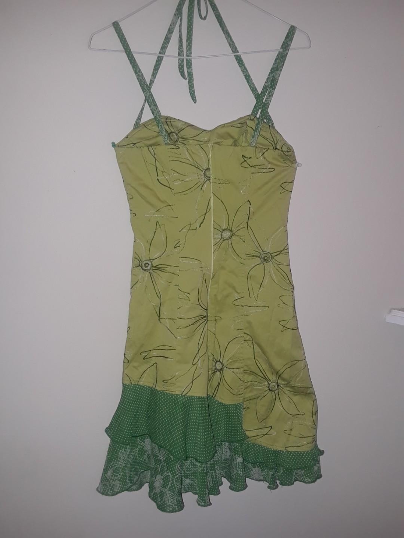 Vintage retro style Mini dress embroidery ANNIE green polka dots ruffles criss cross