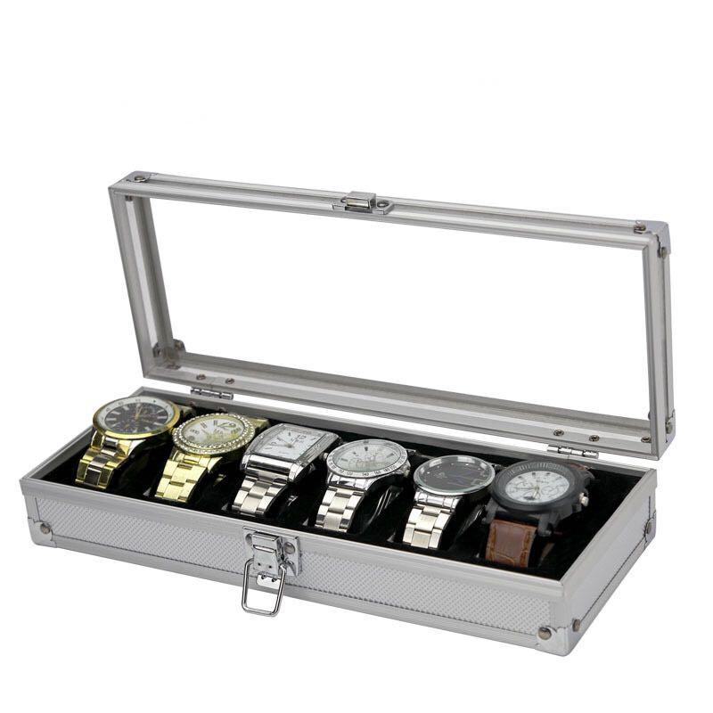 Silver Aluminium Frame Watch Storage Box for six (6) watches watch box