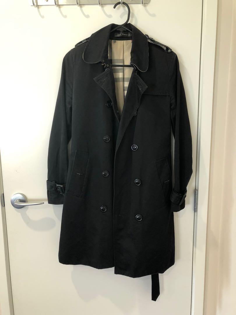 Zara coat black dust coat