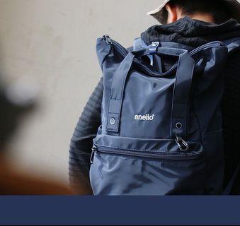 《日本樂天人氣款》日本品牌 anello 高密度光澤質感耐重後背包/電腦包(深藍色)