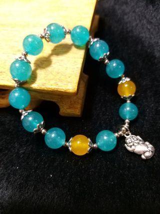 天河 玉隨 貔貅 藏銀 設計款 手珠 手飾 飾品(21)