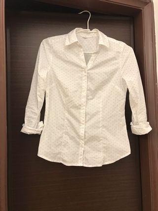 NET  女 長袖薄白襯衫