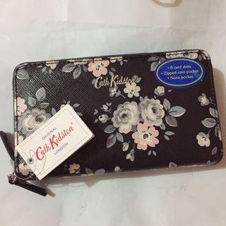 Authentic Cath Kidston Double Zip Purse Latimer Rose Charcoal