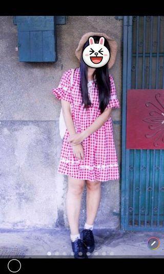 紅色格子洋裝#剁手時尚