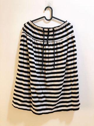 二手棉質 黑白條紋長裙 過膝裙 孕婦裝