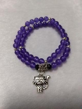 紫玉隨 繞二圈 貓咪 藏銀 設計款 手珠 手飾 飾品(22)
