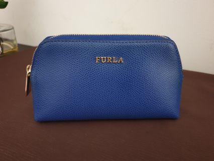 FURLA 義大利真皮拉鏈小化妝包手拿拉鏈包 寶藍色