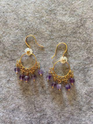 天然貝殼紫水晶耳環