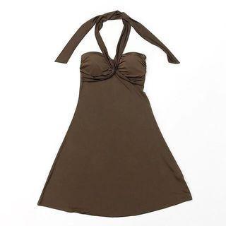 Forever 21 Brown Halter Dinner Dress