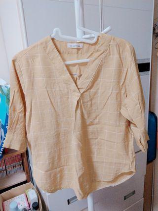 黃格五分袖襯衫