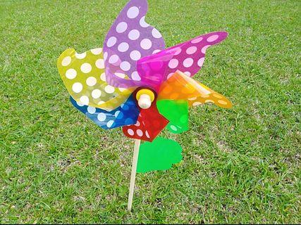 Giant colourful garden windmill